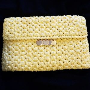 Vintage RODO Raffia with chain Clutch handbag